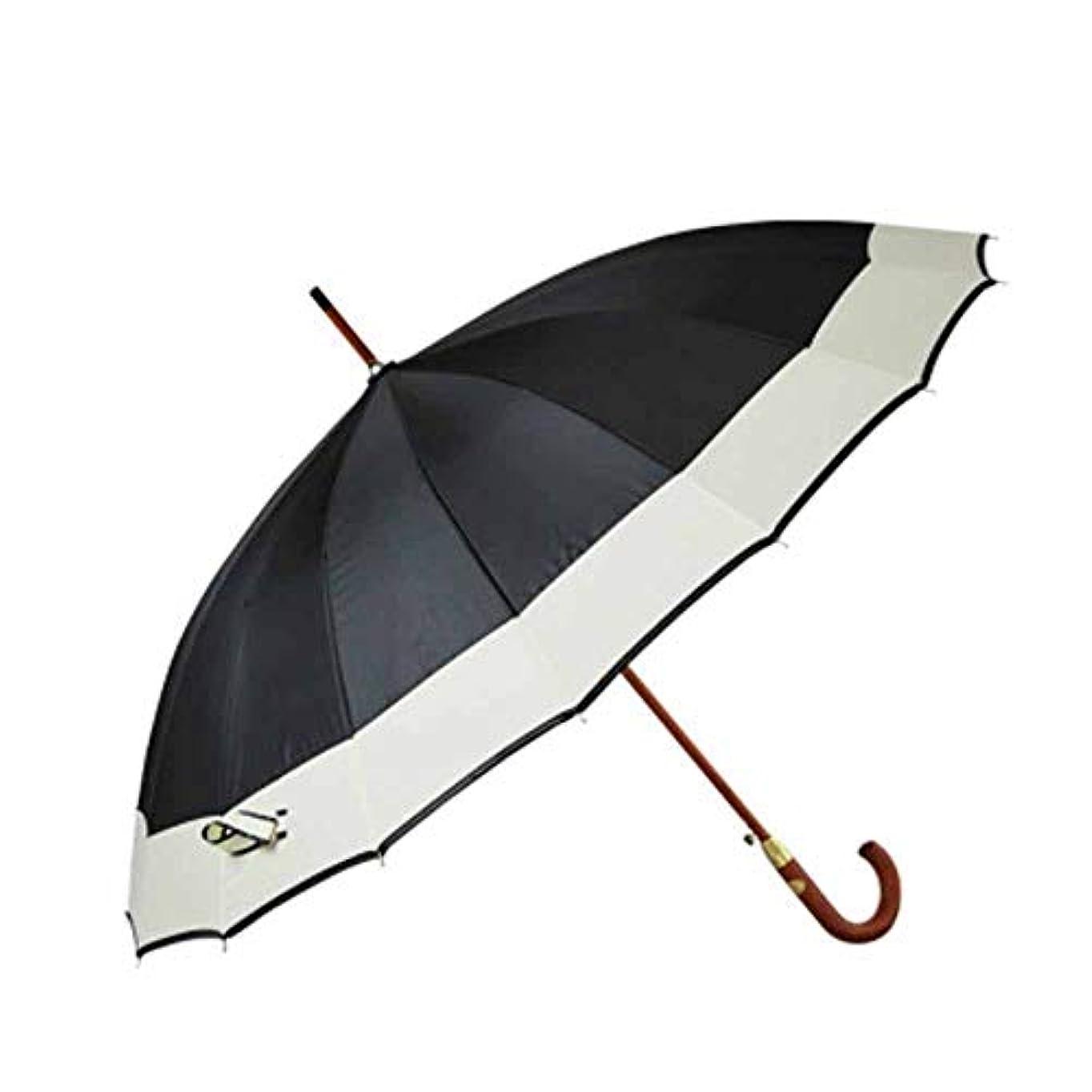 スチールブレークキャリアChuangshengnet 傘木製ハンドルビジネス傘日傘特大傘ストレート傘自動傘防風傘 (Color : ブラック)
