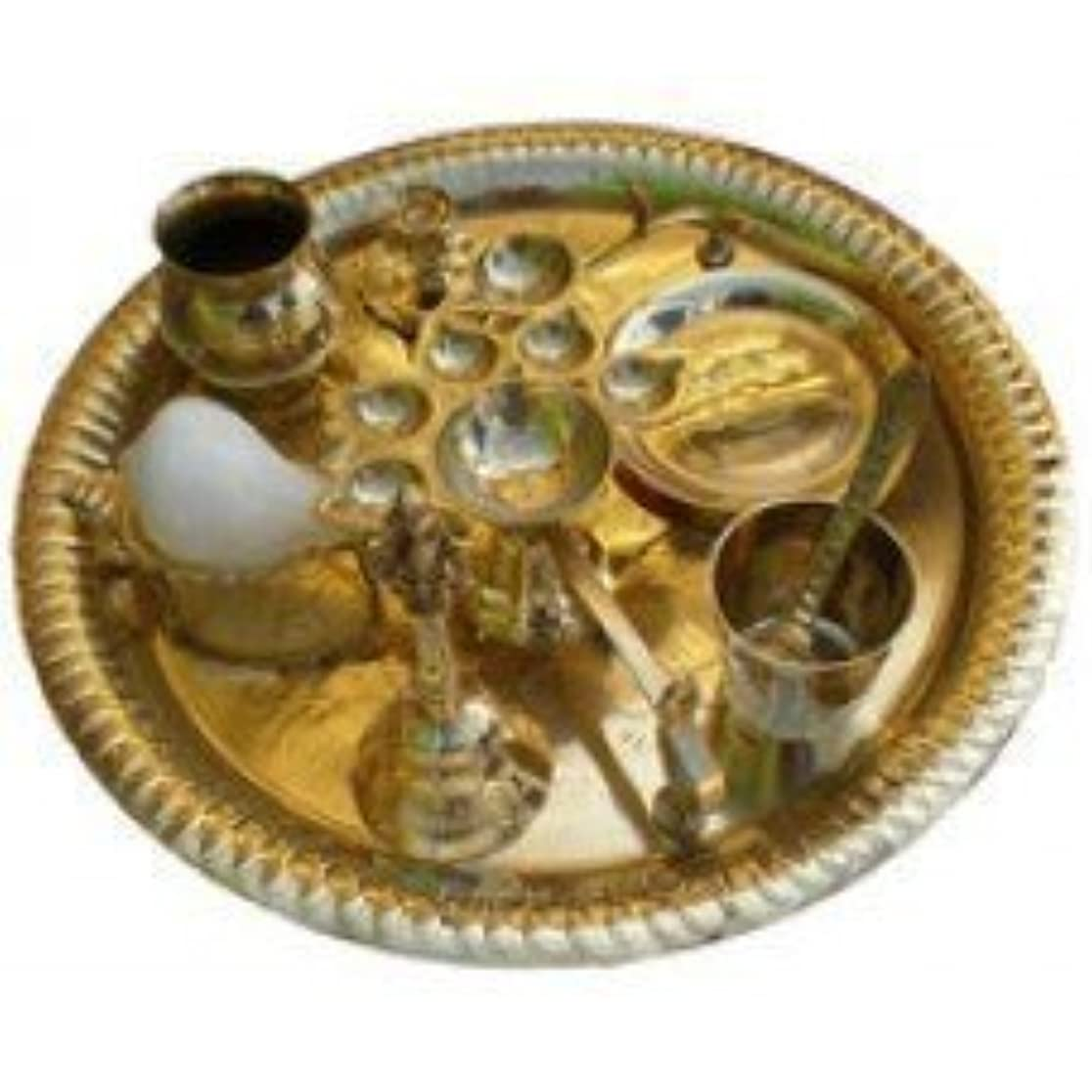 リボン工夫する田舎Aarti Set (tray with Bell, Incense Holder, Flower Tray, Conch, Ghee Lamps)