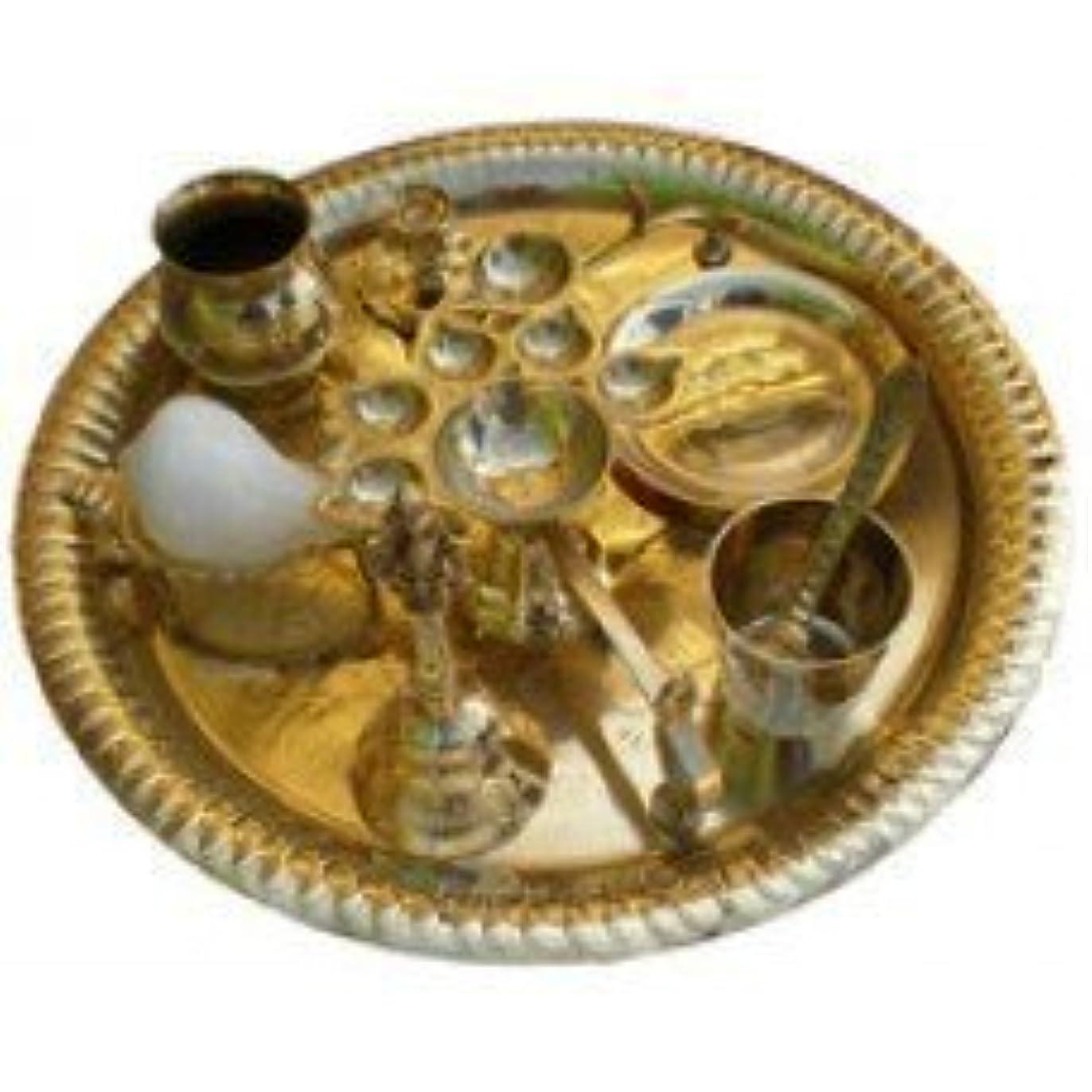 何振りかける正当なAarti Set (tray with Bell, Incense Holder, Flower Tray, Conch, Ghee Lamps)