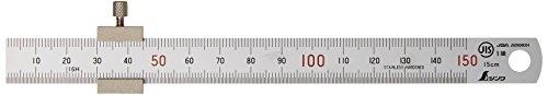 シンワ測定 直尺 シルバー ストッパー付き 15cm 76751