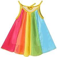Hipea Toddler Baby Girls Clothes Sleeveless Rainbow Dresses Princess Dress Skirt Formal Kids Summer Outfits(4-5T)