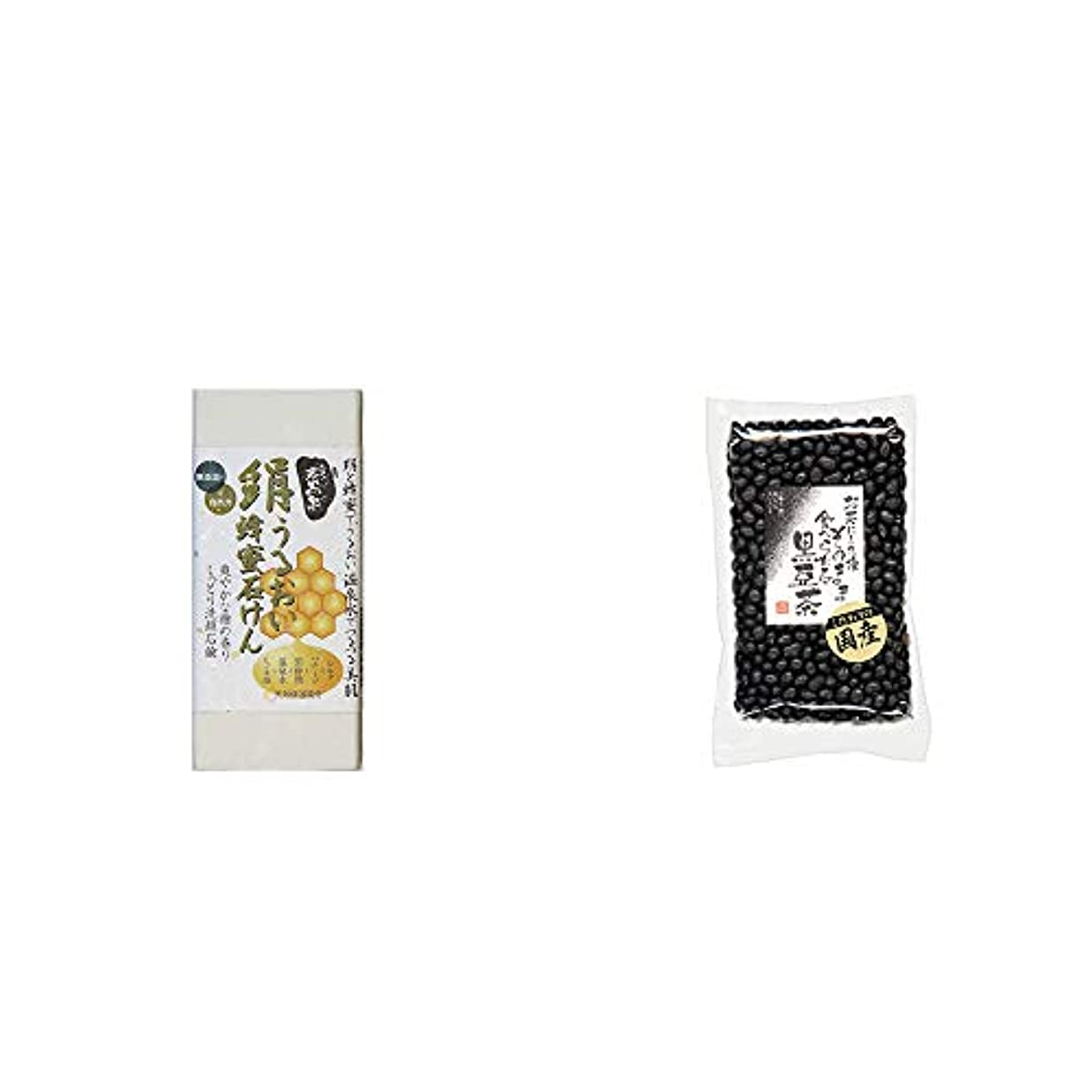 同行光沢失[2点セット] ひのき炭黒泉 絹うるおい蜂蜜石けん(75g×2)?国産 黒豆茶(200g)