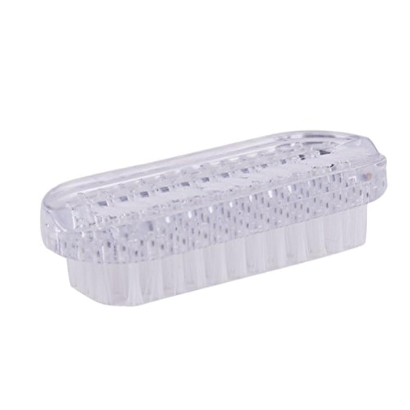 原点ブラウス有益ROSENICE ネイルブラシプラスティックネイルスクラブブラシダブルサイドハンドネイルクリーナーブラシ(ホワイト)