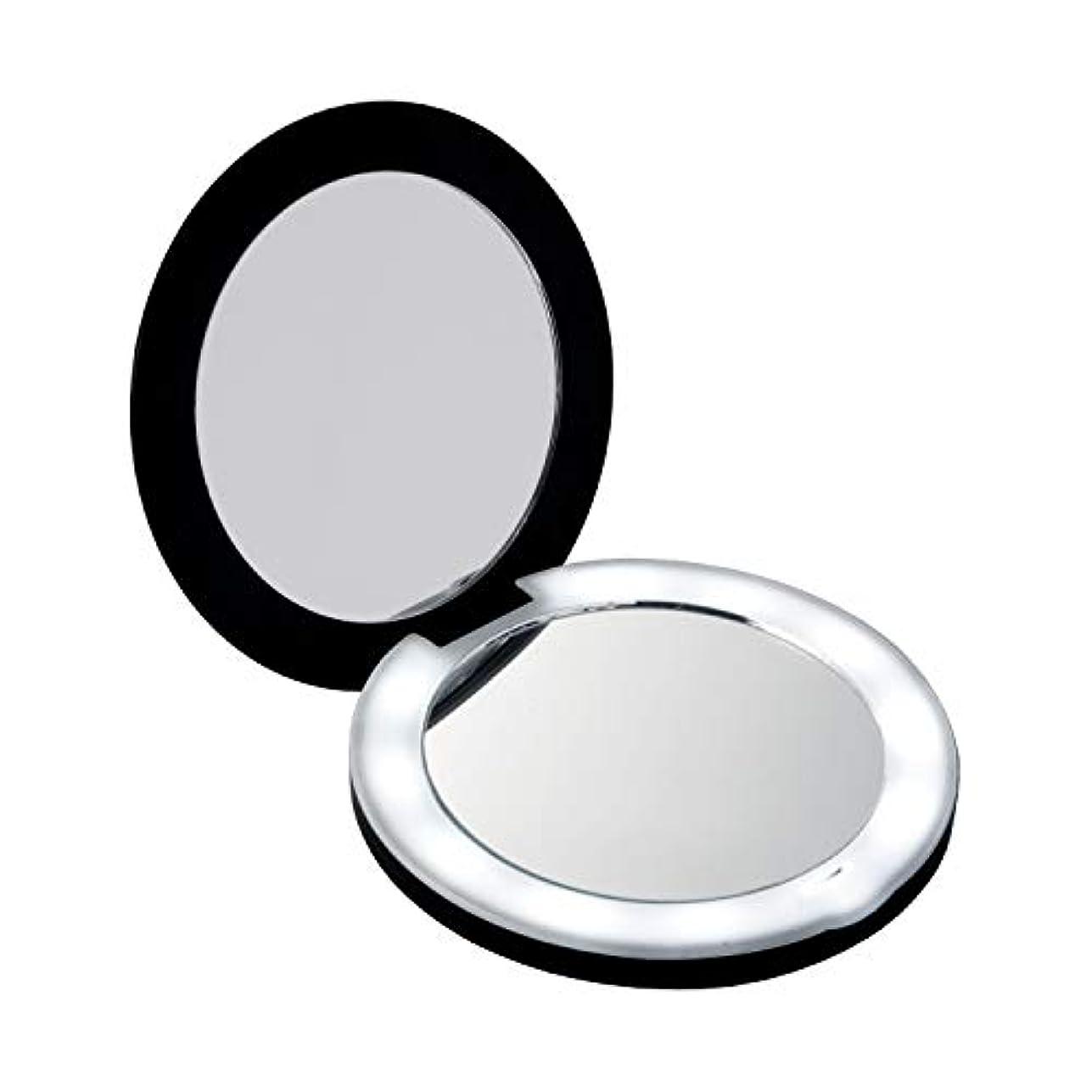 10倍拡大鏡コンパクト2面ミラー(ライト付) LEDライト メイク直し 化粧 折りたたみ 持ち運びに便利 女優ミラー 電池式 約9cm