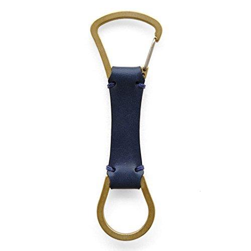 moca (モカ) レザー キーホルダー 日本製 使うほどに心を満たしてくるヌメ革と真鍮。大切な鍵をアクセサリーに変えるキーホルダー 金具 真鍮 パーツ メンズ 革 ベルトループ プレゼント (ブルー)