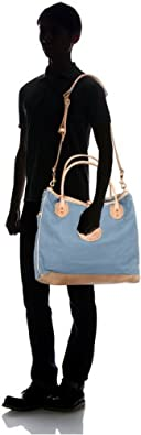 Canvas Tote w/ Strap 7631: Light Blue