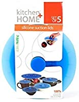 Silicone Suction Lids and Food Covers - Set of 5 - Fits various sizes of cups, bowls, pans, or containers! by Kitchen + Home