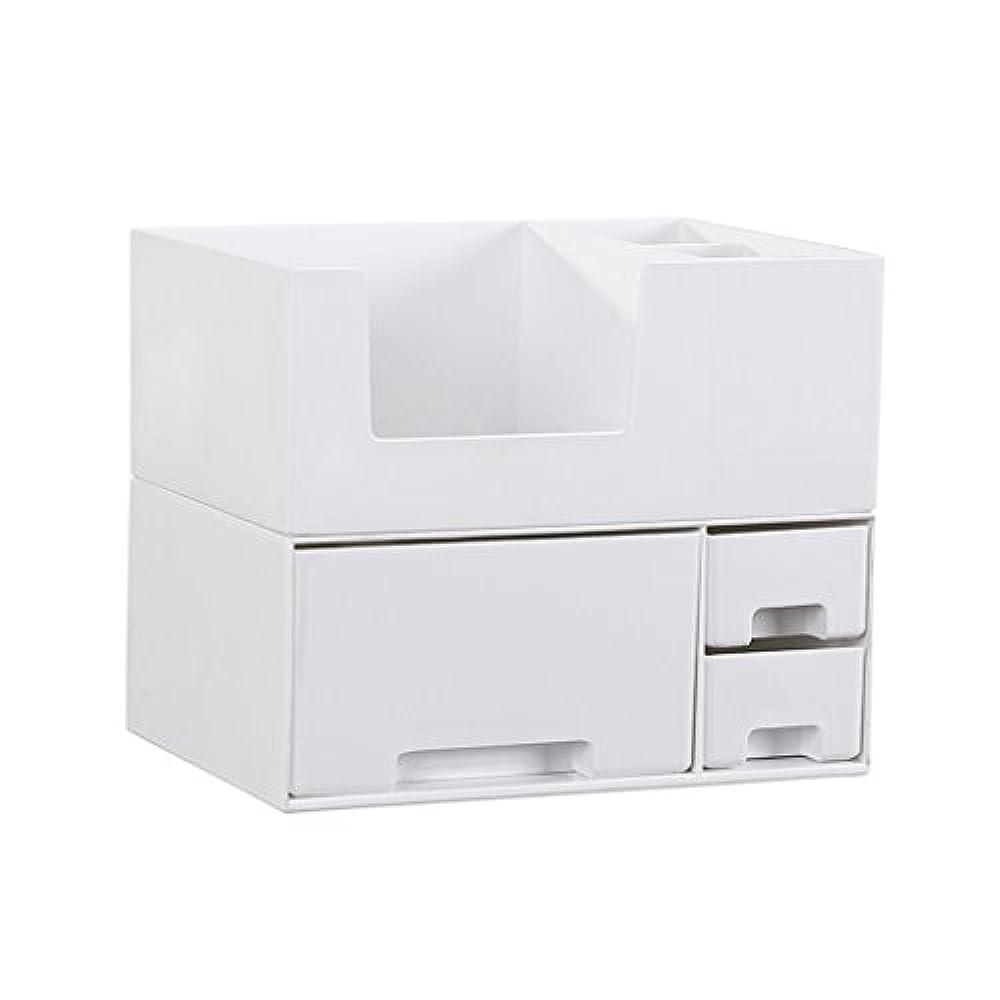 フェンス旋律的状況デスクトップ化粧品収納ボックス、スキンケア製品、フェイシャルマスク、ジュエリー、収納ラック、白い2階建て多目的収納ボックス