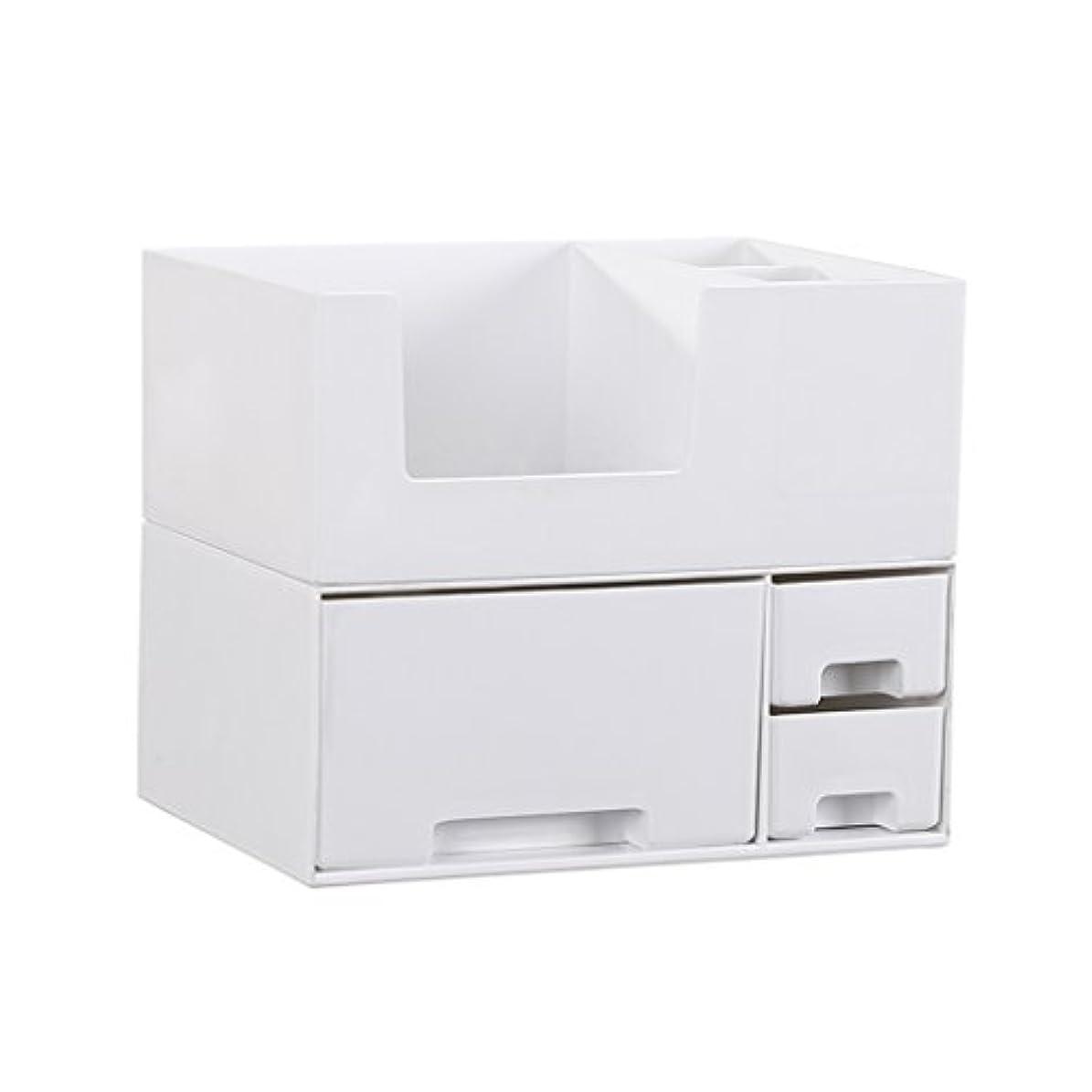 収束する誠実れるデスクトップ化粧品収納ボックス、スキンケア製品、フェイシャルマスク、ジュエリー、収納ラック、白い2階建て多目的収納ボックス
