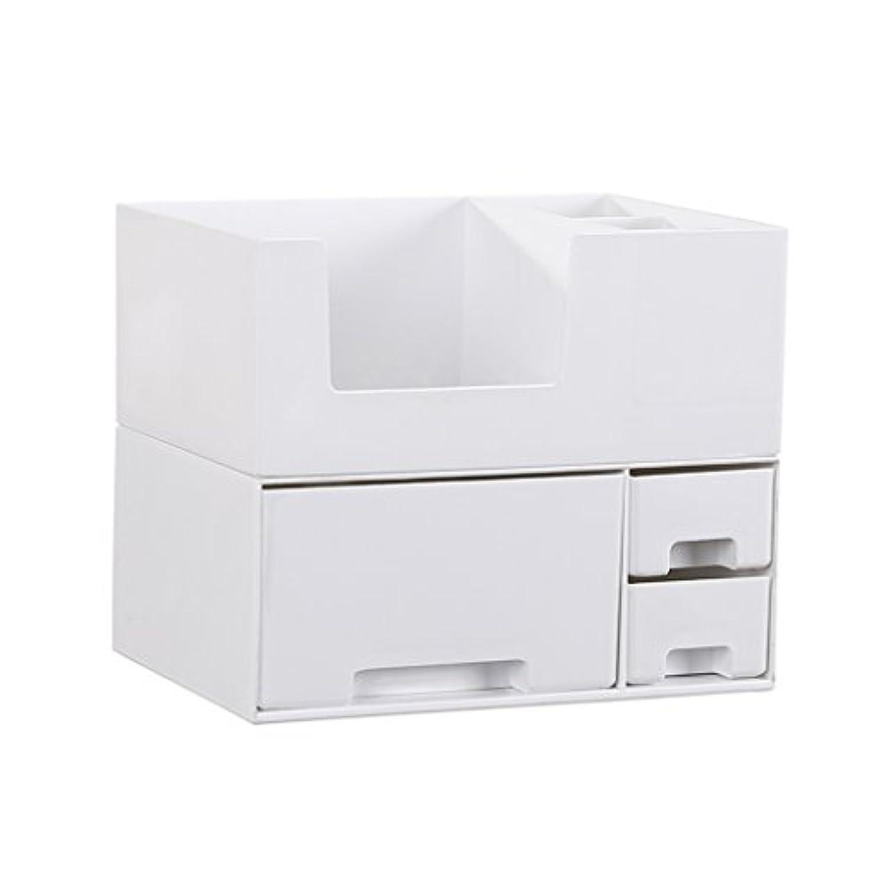ロゴ水を飲むモードデスクトップ化粧品収納ボックス、スキンケア製品、フェイシャルマスク、ジュエリー、収納ラック、白い2階建て多目的収納ボックス