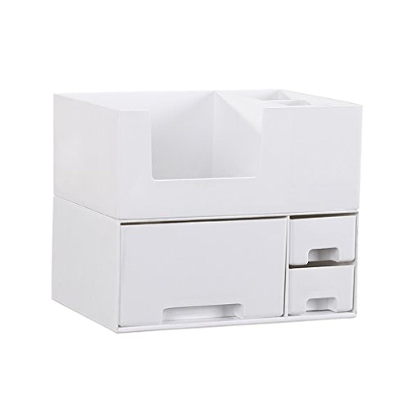 アセンブリ混乱させるストロークデスクトップ化粧品収納ボックス、スキンケア製品、フェイシャルマスク、ジュエリー、収納ラック、白い2階建て多目的収納ボックス