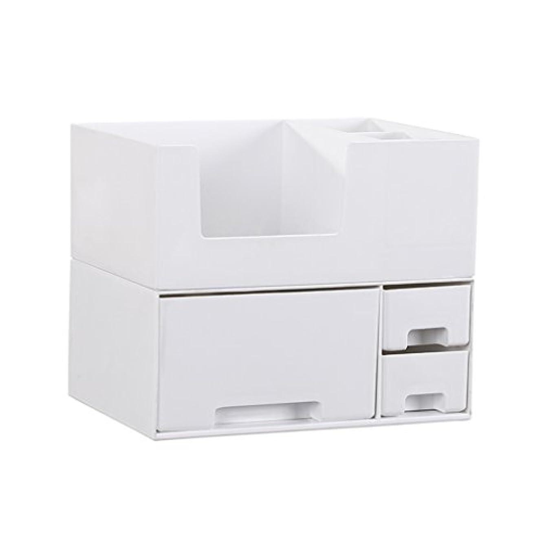 デスクトップ化粧品収納ボックス、スキンケア製品、フェイシャルマスク、ジュエリー、収納ラック、白い2階建て多目的収納ボックス