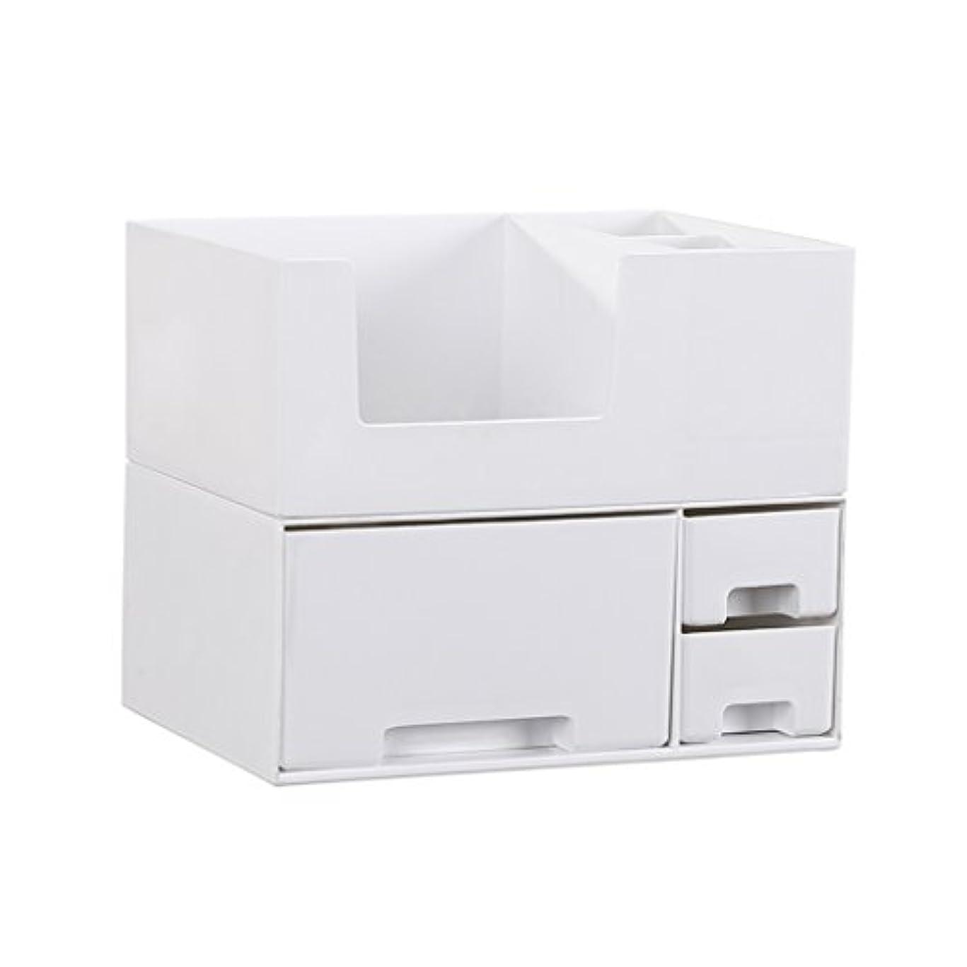 怠なビタミンインストラクターデスクトップ化粧品収納ボックス、スキンケア製品、フェイシャルマスク、ジュエリー、収納ラック、白い2階建て多目的収納ボックス
