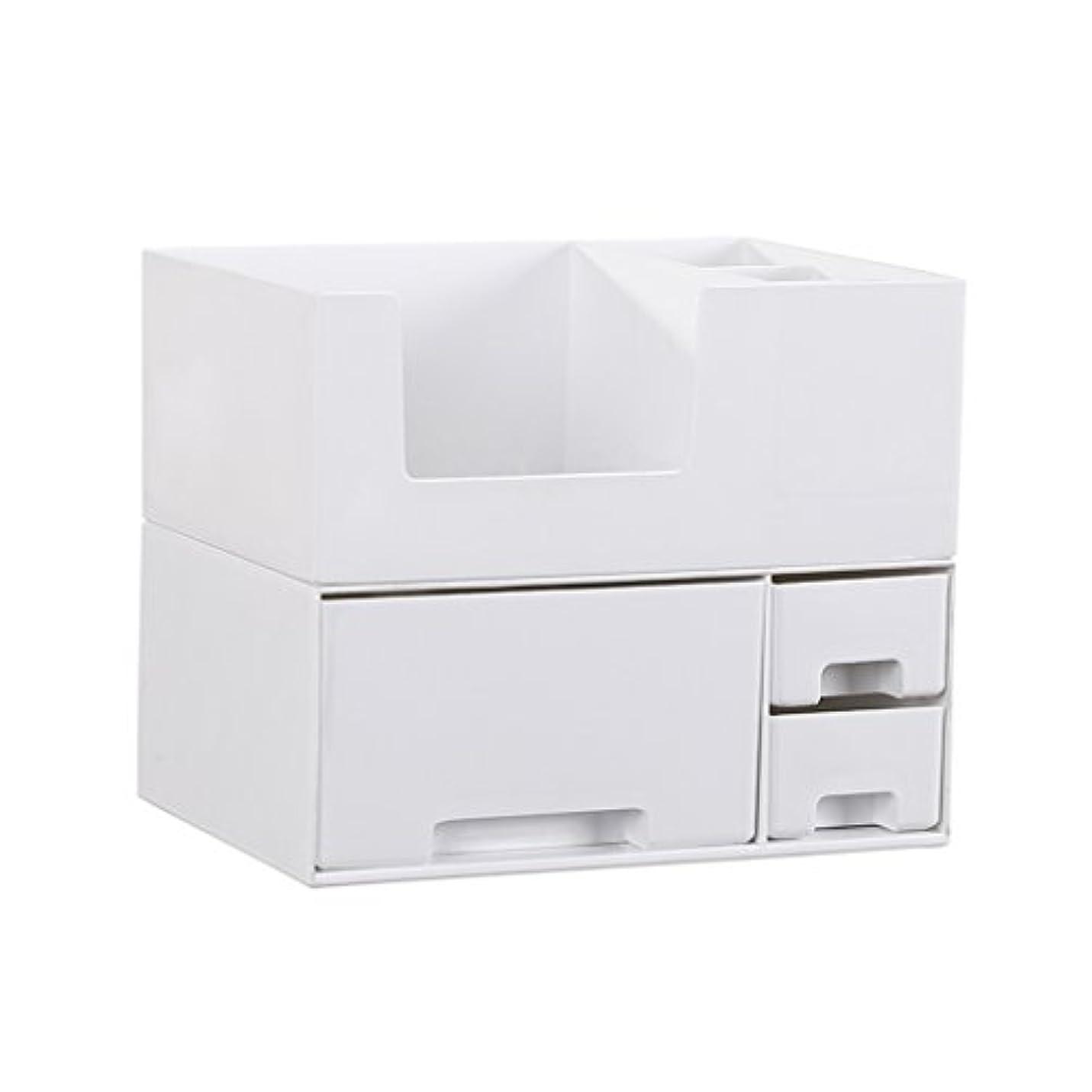 世界持ってる想像するデスクトップ化粧品収納ボックス、スキンケア製品、フェイシャルマスク、ジュエリー、収納ラック、白い2階建て多目的収納ボックス