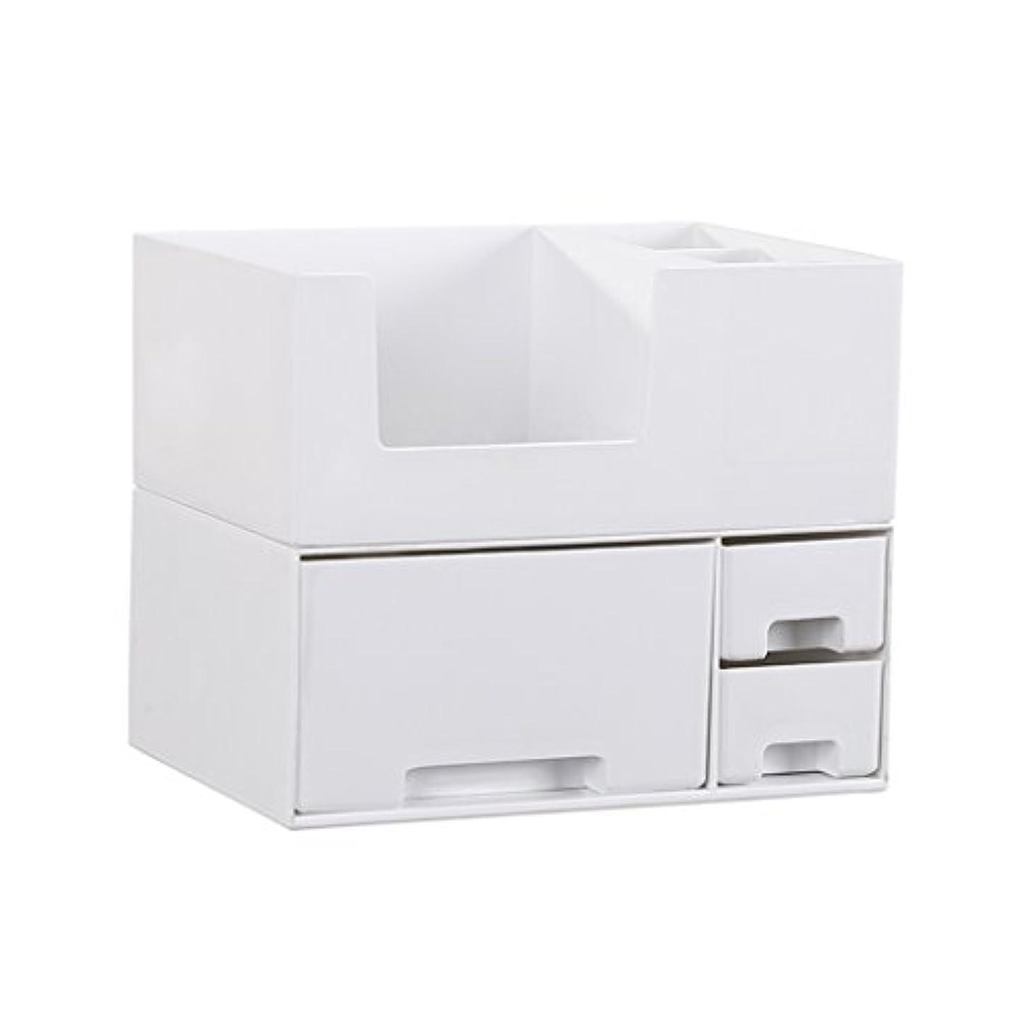 ベンチ歯科医遅れデスクトップ化粧品収納ボックス、スキンケア製品、フェイシャルマスク、ジュエリー、収納ラック、白い2階建て多目的収納ボックス