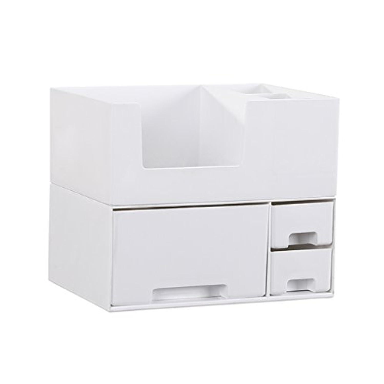 アーカイブ太陽一晩デスクトップ化粧品収納ボックス、スキンケア製品、フェイシャルマスク、ジュエリー、収納ラック、白い2階建て多目的収納ボックス