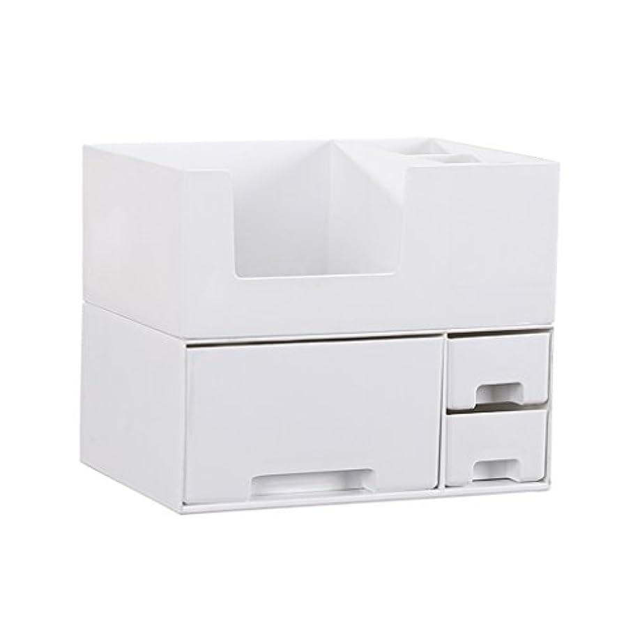 ファブリック逃す石油デスクトップ化粧品収納ボックス、スキンケア製品、フェイシャルマスク、ジュエリー、収納ラック、白い2階建て多目的収納ボックス