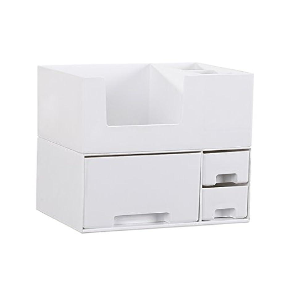 電気の予想する支給デスクトップ化粧品収納ボックス、スキンケア製品、フェイシャルマスク、ジュエリー、収納ラック、白い2階建て多目的収納ボックス