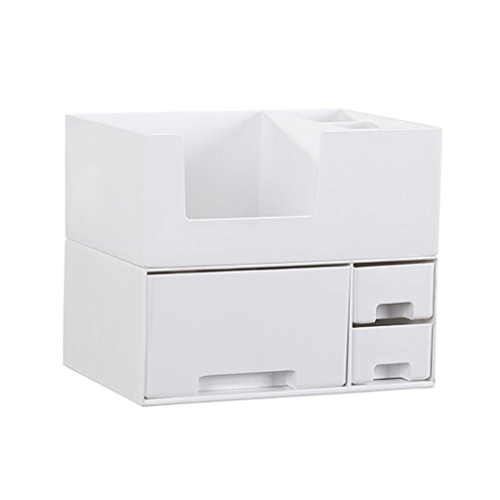 課税粗い地中海デスクトップ化粧品収納ボックス、スキンケア製品、フェイシャルマスク、ジュエリー、収納ラック、白い2階建て多目的収納ボックス