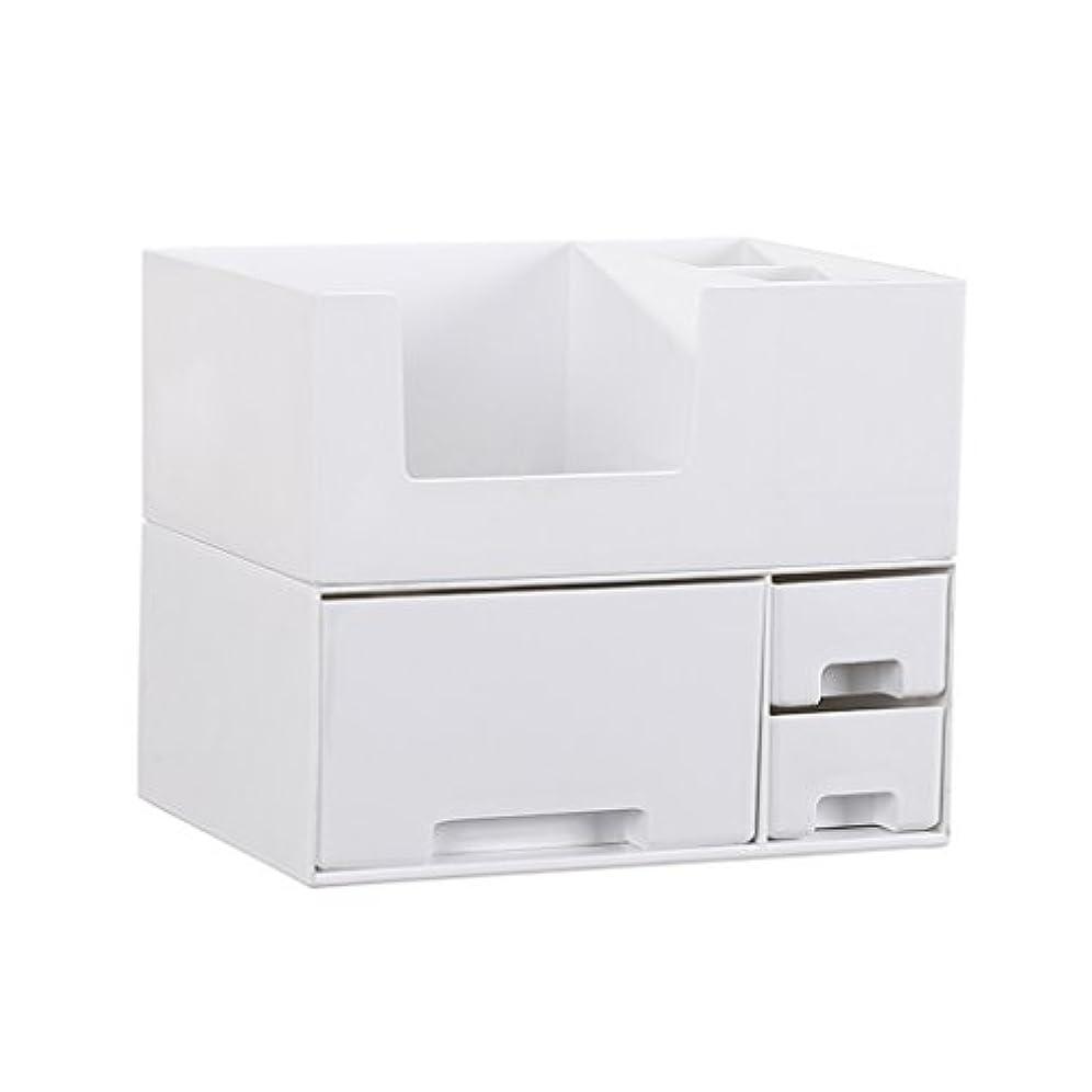 マイコン穴フェロー諸島デスクトップ化粧品収納ボックス、スキンケア製品、フェイシャルマスク、ジュエリー、収納ラック、白い2階建て多目的収納ボックス