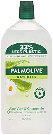 Palmolive Naturals Liquid Hand Wash Soap Aloe Vera and Chamomile with Moisturising Milk Refill and Save Recycl