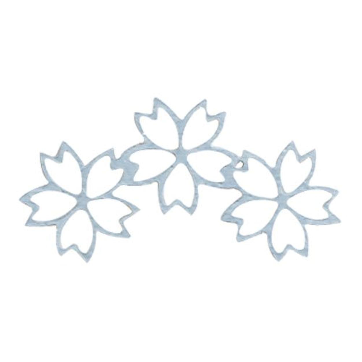 マングルテナント一般的なリトルプリティー ネイルアートパーツ チェリーブロッサム3連スカシ シルバー 10個