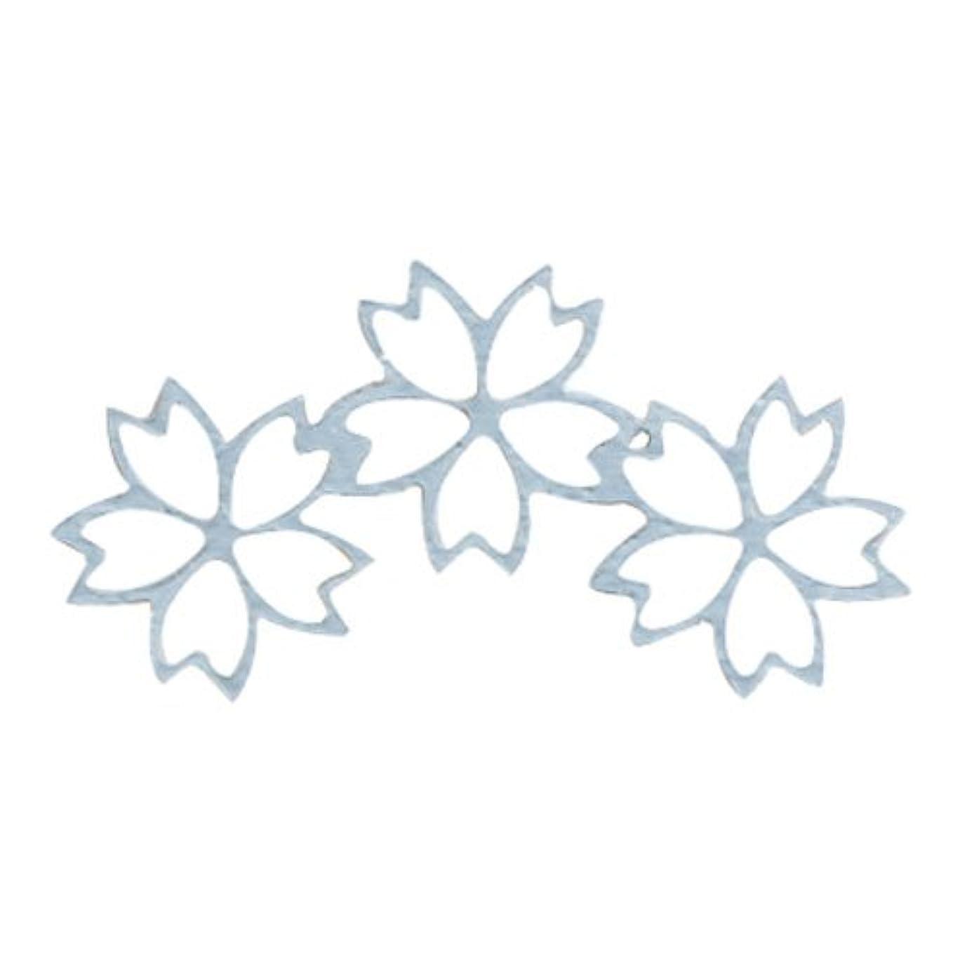 マントル俳優ピストルリトルプリティー ネイルアートパーツ チェリーブロッサム3連スカシ シルバー 10個