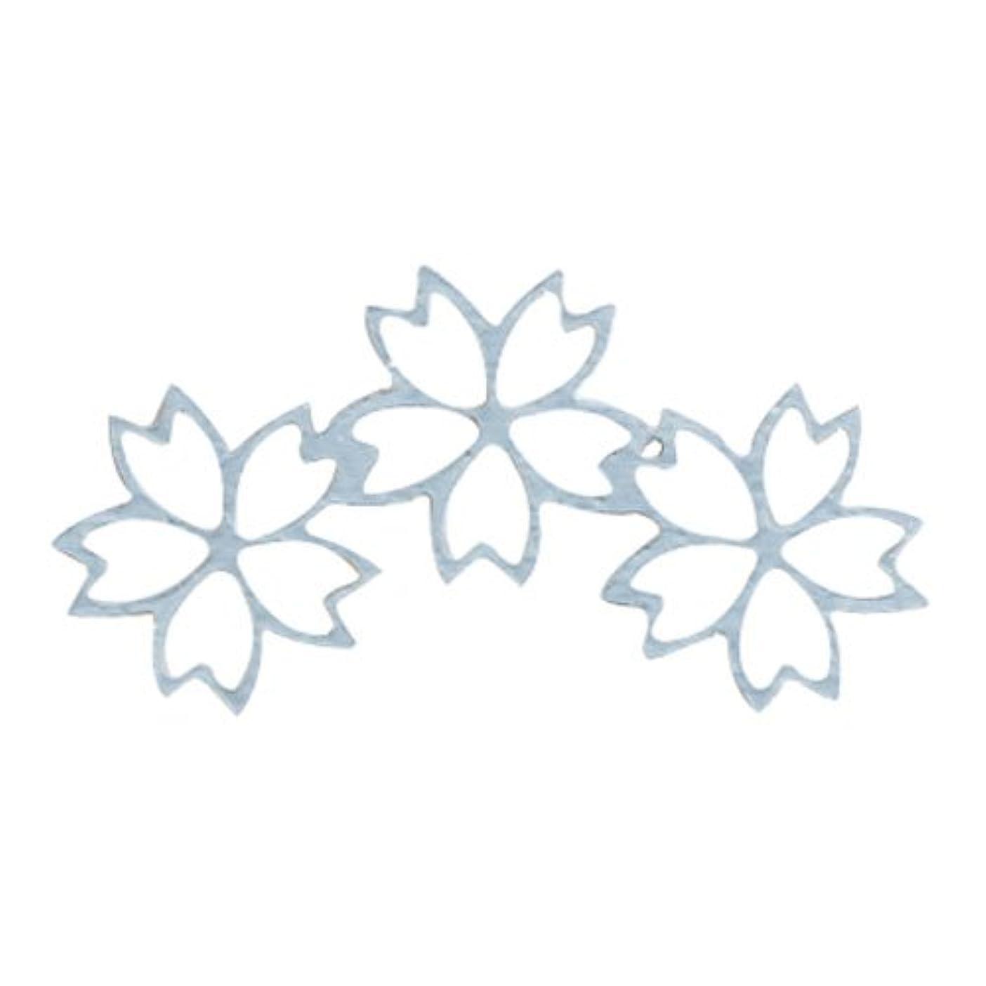 ハッピーカウントアップ中にリトルプリティー ネイルアートパーツ チェリーブロッサム3連スカシ シルバー 10個