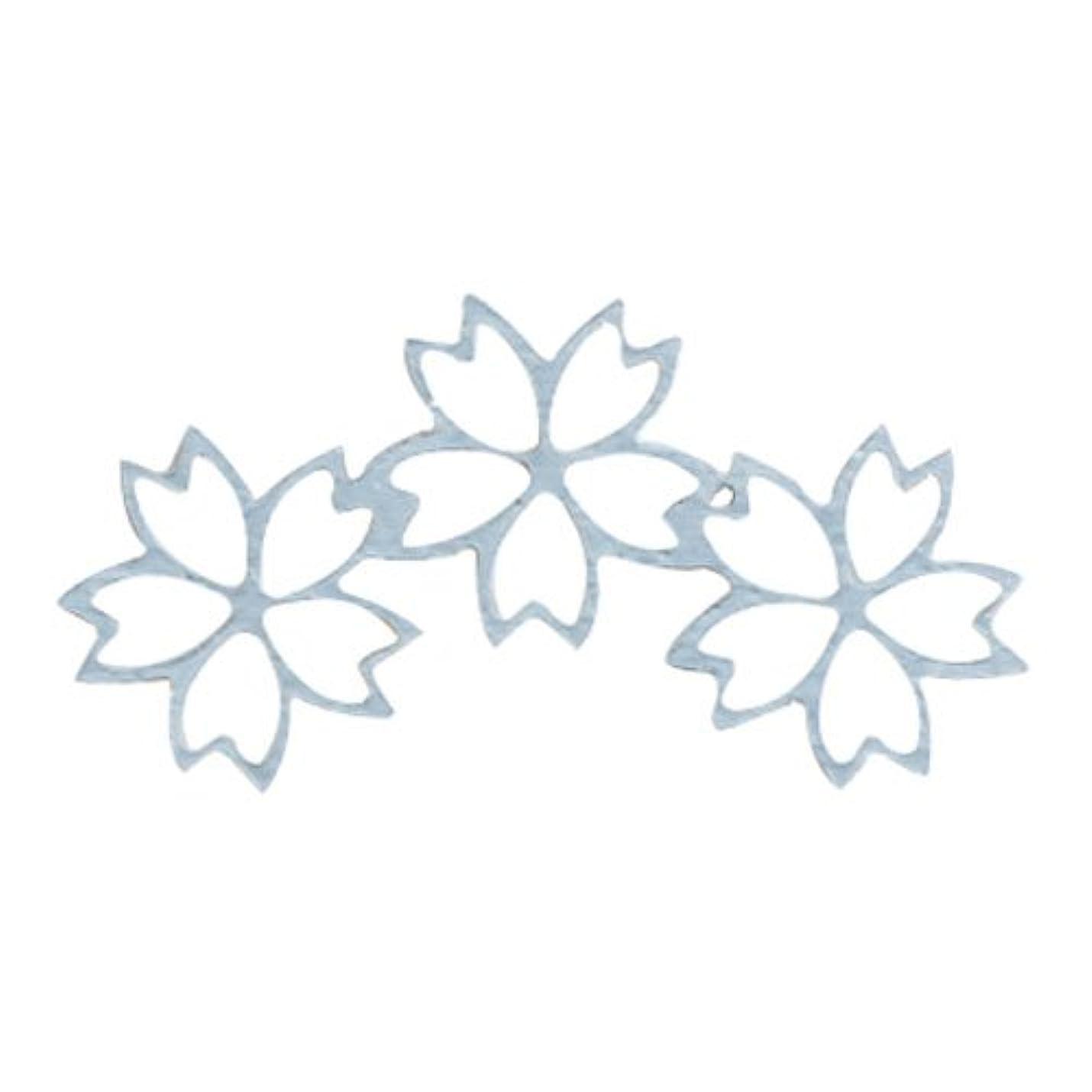 ハーブリンス微生物リトルプリティー ネイルアートパーツ チェリーブロッサム3連スカシ シルバー 10個