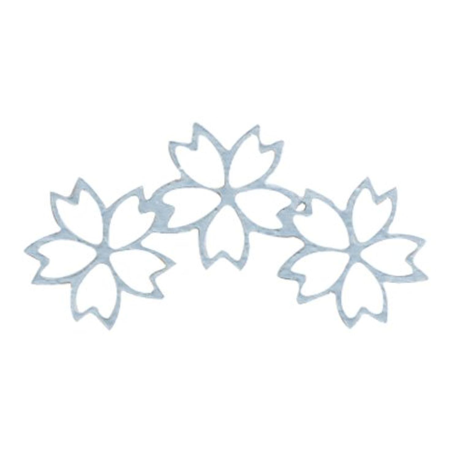 概念モネ燃やすリトルプリティー ネイルアートパーツ チェリーブロッサム3連スカシ シルバー 10個