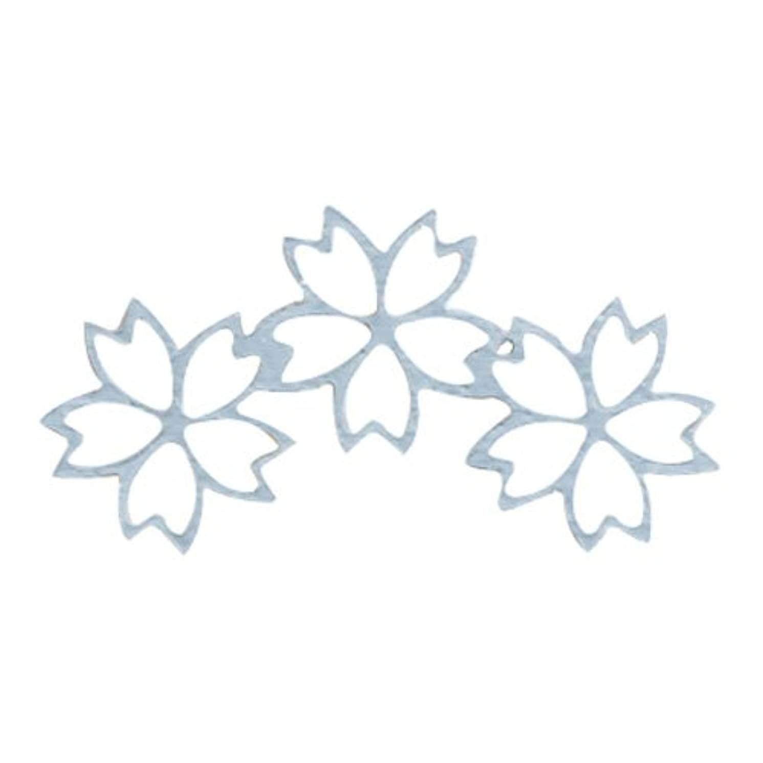 見落とす生命体居住者リトルプリティー ネイルアートパーツ チェリーブロッサム3連スカシ シルバー 10個