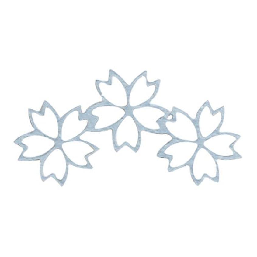 パーセント申請者相談リトルプリティー ネイルアートパーツ チェリーブロッサム3連スカシ シルバー 10個