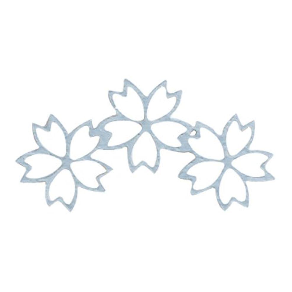 リブ飼いならす単語リトルプリティー ネイルアートパーツ チェリーブロッサム3連スカシ シルバー 10個
