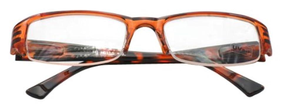 意図管理する変色するハックベリー ちょっとおしゃれな老眼鏡 (2.0度 UVカットレンズ) ハーフフレーム ブラウン系 (茶) H037S2
