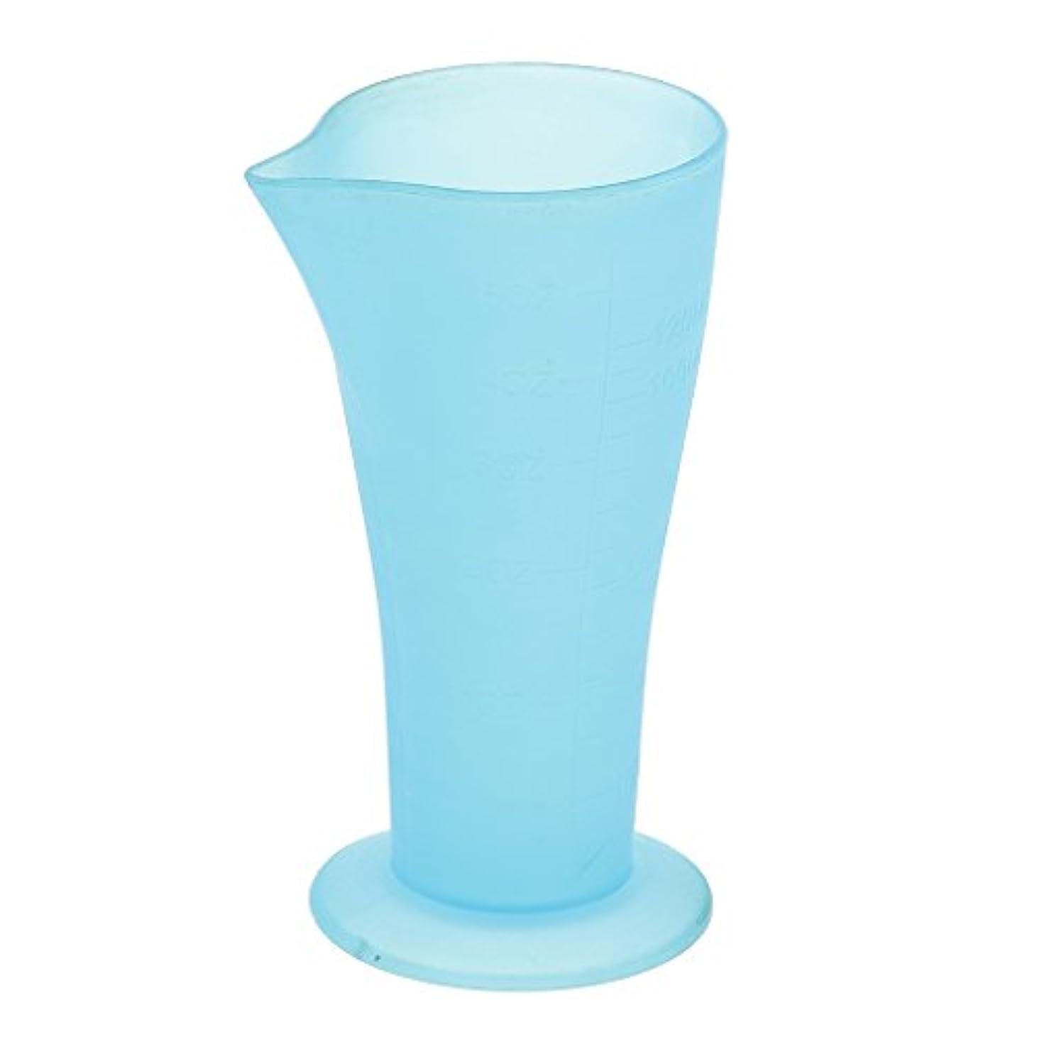 定常比較円形のToygogo 再利用可能な耐久性のある120mL 5oZクリアブループラスチック製の計量用ビーカーカップ調理用ベーカリーキッチンラボサロン