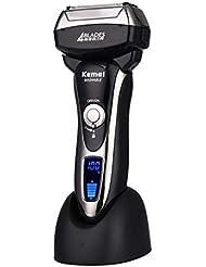 男性のための4ブレード電気ホイルシェーバー、Ledディスプレイ付き防水ウェット/ドライクイック充電式コードレス電気かみそり、トラベルロック&ポップアップトリマー