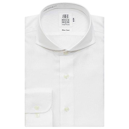 ネット限定商品 長袖 スリム ワイシャツ 形態安定 ホリゾンタル ワイド / ホリゾンタルカラー 綿100% 白×オックス調 BYLW24831C-90 シロ S-84