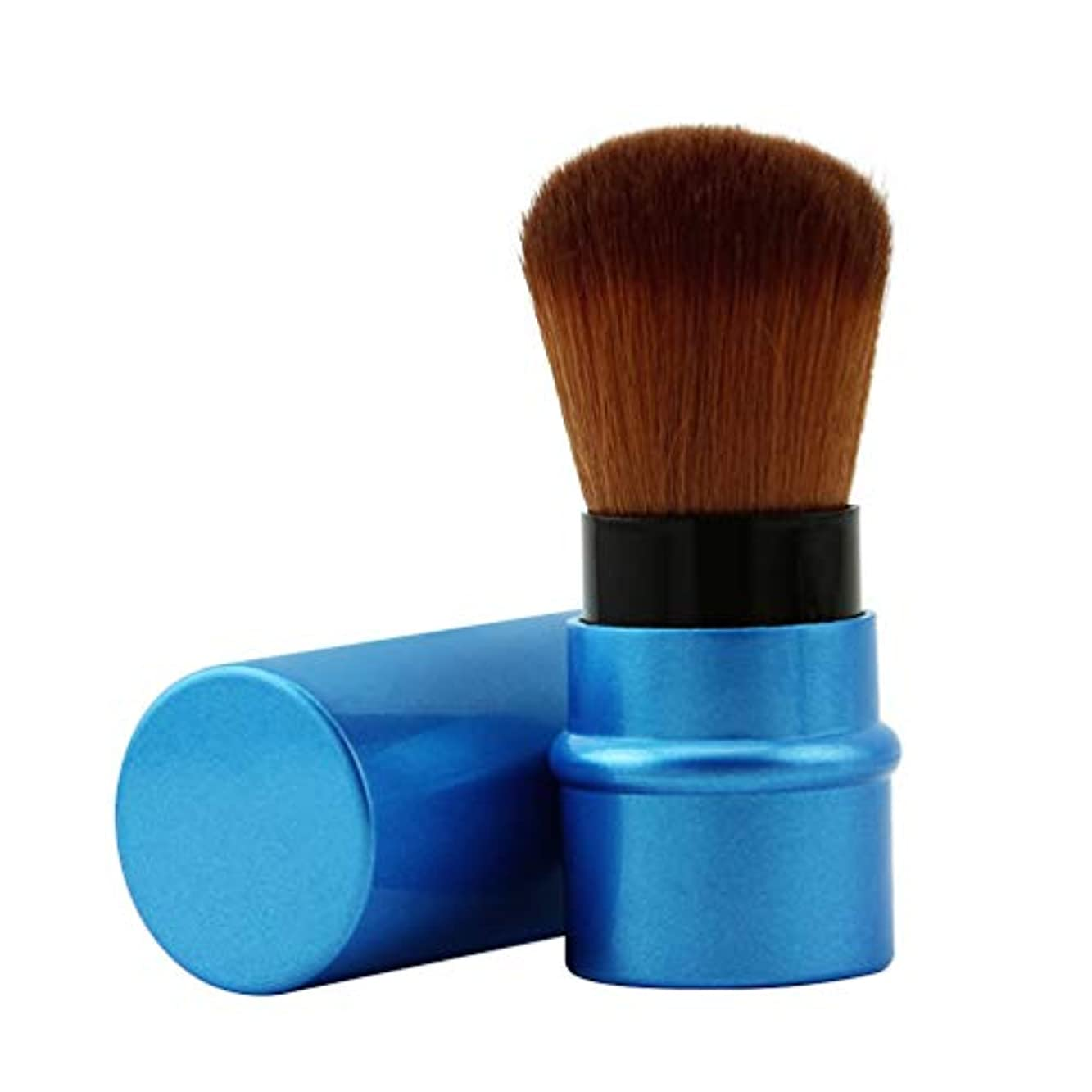 木用心戦闘SHARE BEAUTY メイクブラシ 伸縮式デザイン スライド式 ファンデーションブラシ パウダーブラシ フェイスブラシ 人気 可愛い 柔らかい 優しい肌触り 多機能 軽量 通勤、出張、旅行に適用 贈り物に最適 メイクアップツール 化粧筆 (ブルー)