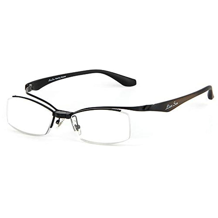 男性と女性は折りたたみ老眼鏡を反転することができます、 HD耐摩耗性樹脂 抗疲労老眼鏡、 高齢者用メタルハーフフレームメガネ