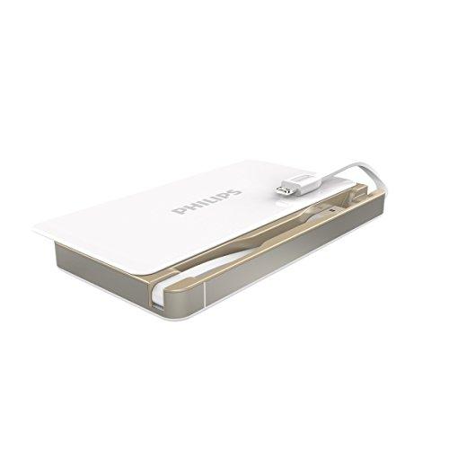 PHILIPS 6000mAh モバイルバッテリー 2ケーブル内蔵(ライトニング/USB) 【Apple MFi認証取得】iPhone / iPad / iPod各種対応 DLP6066 (ホワイト)