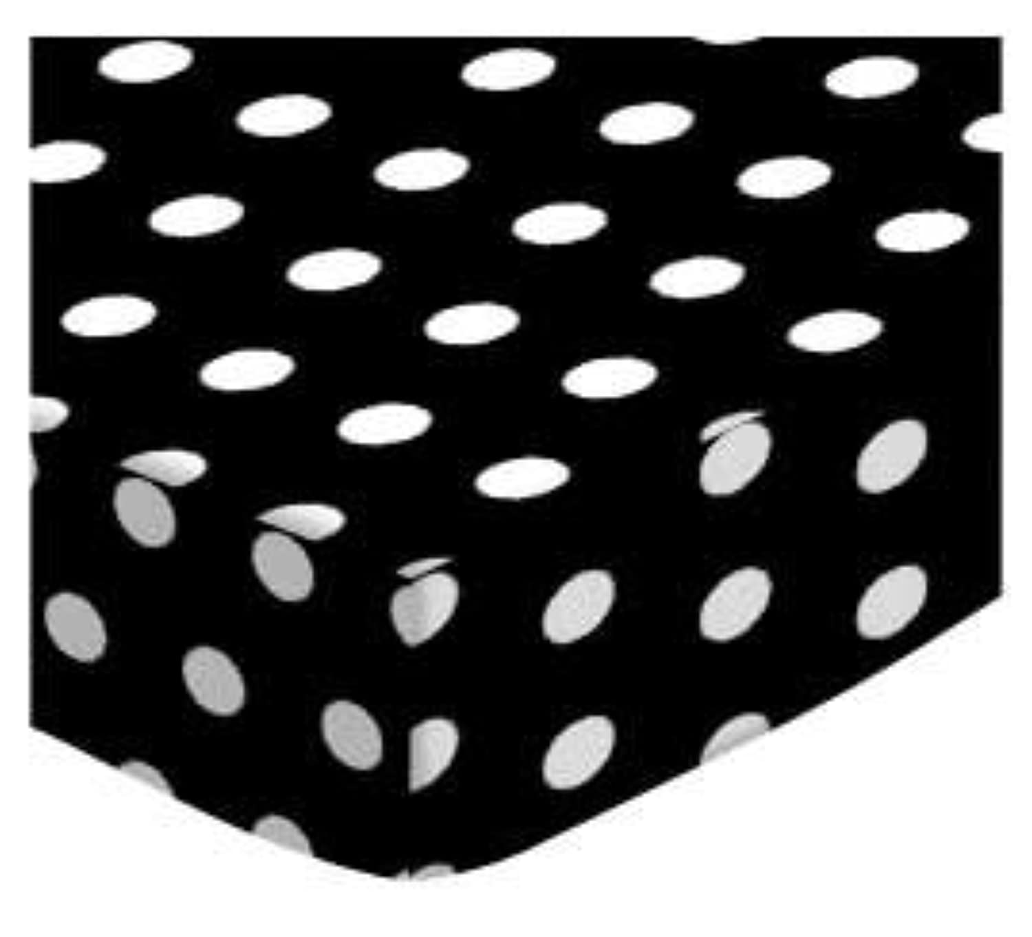 SheetWorld Fitted Cradle Sheet - Polka Dots Black - Made In USA by sheetworld