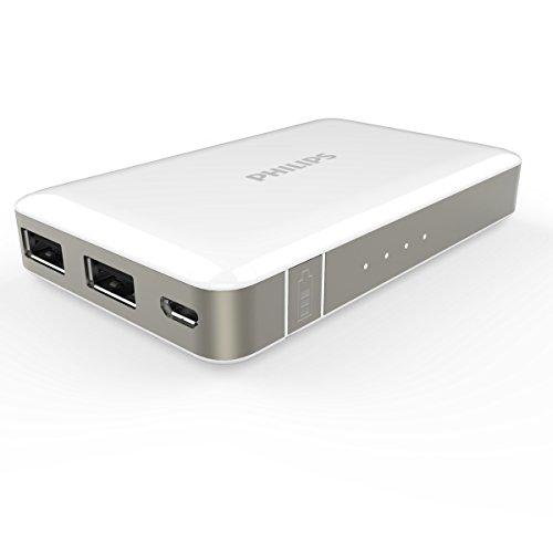 PHILIPS 5000mAh 2ポート 大容量 モバイルバッテリー 2台同時給電可能 DLP6060 (ホワイト)