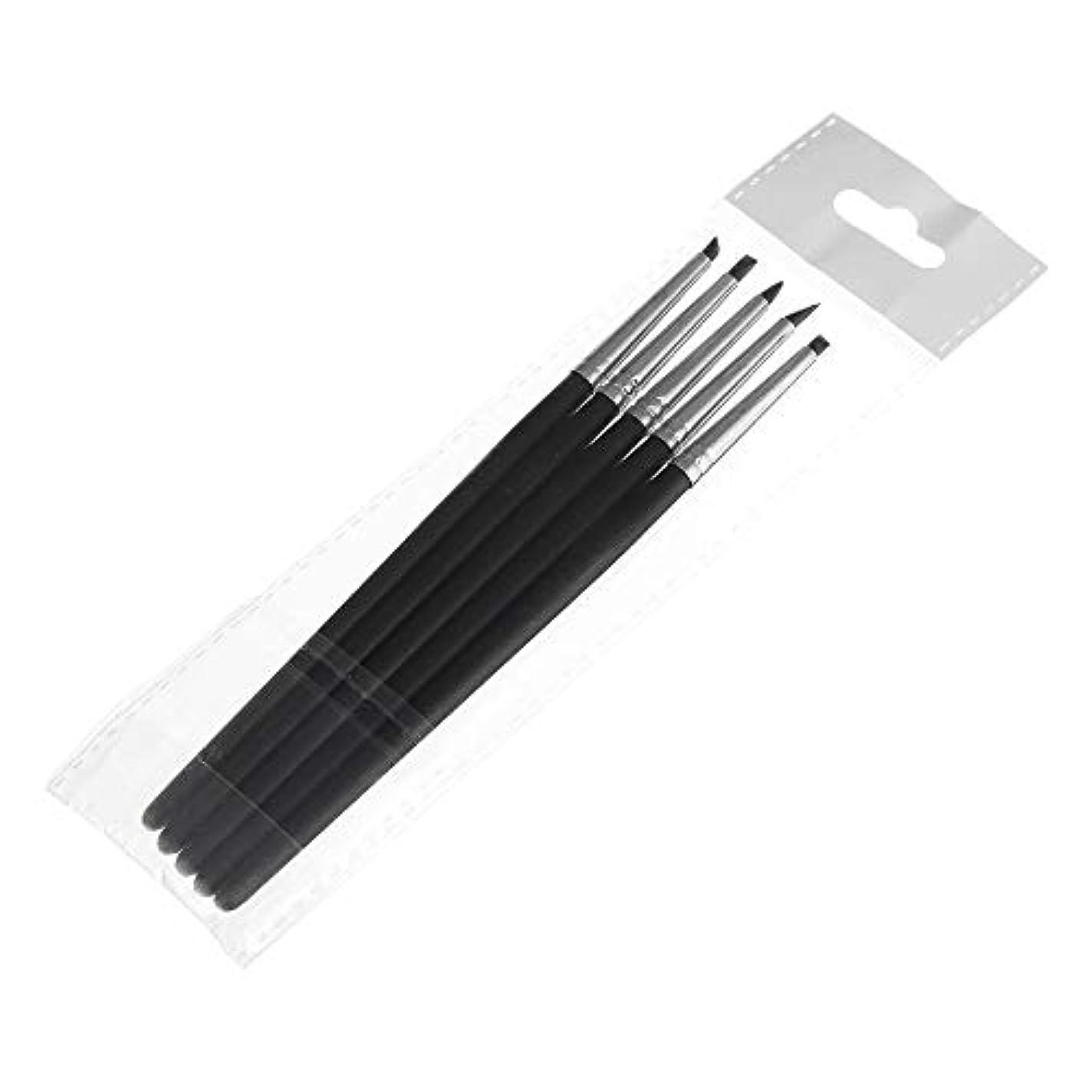 ネックレットサラダバッグ歯科用 接着剤 コンポジット レジンセメント 磁器歯 シリコーン ブラシ ペン 5Pcs ブラック