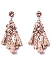 Pink Rose Gold Tone Crystal Encrusted Tassel Drop Earrings