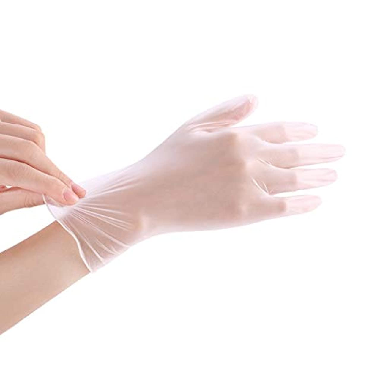 庭園怒って移行使い捨て透明食品ケータリンググレードPVC手袋美容キッチンベーキングフィルム手袋200 YANW (色 : トランスペアレント, サイズ さいず : L l)