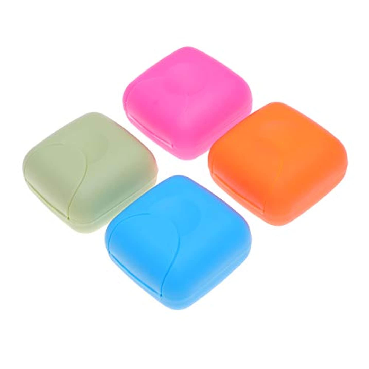 どこにも腰繰り返しHealifty ソープボックスポータブルソープディッシュソープケース4本(ブルー、ロージー、オレンジ、ピンク)