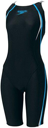 Speedo(スピード)レディース競泳水着フレックスシグマセミオープンバックニースキンSD40H3SFブラック×ターコイズL