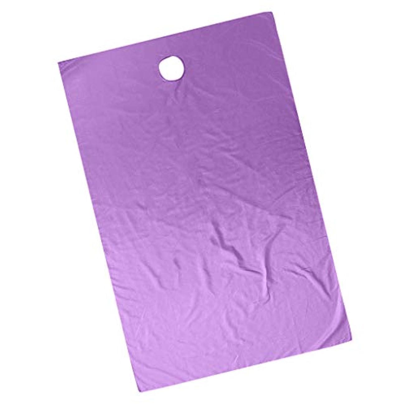 依存乳剤立法スパ マッサージ ベッドカバー 有孔 エステベッドカバー 美容院 サロン 快適 通気性 - ダークパープル