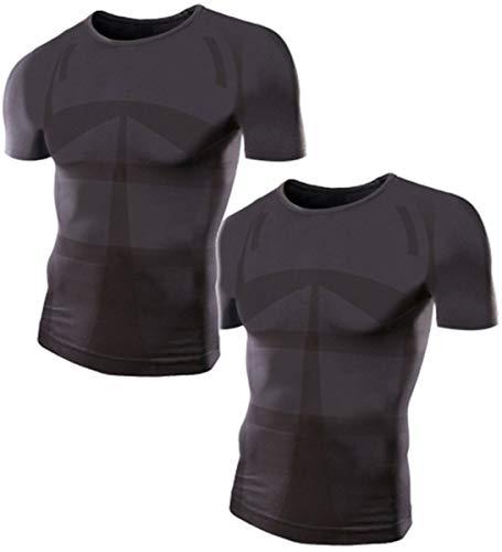 加圧シャツ モアプレッシャー メンズ 加圧インナー (Uネック/M-Lサイズ/黒2枚セット)