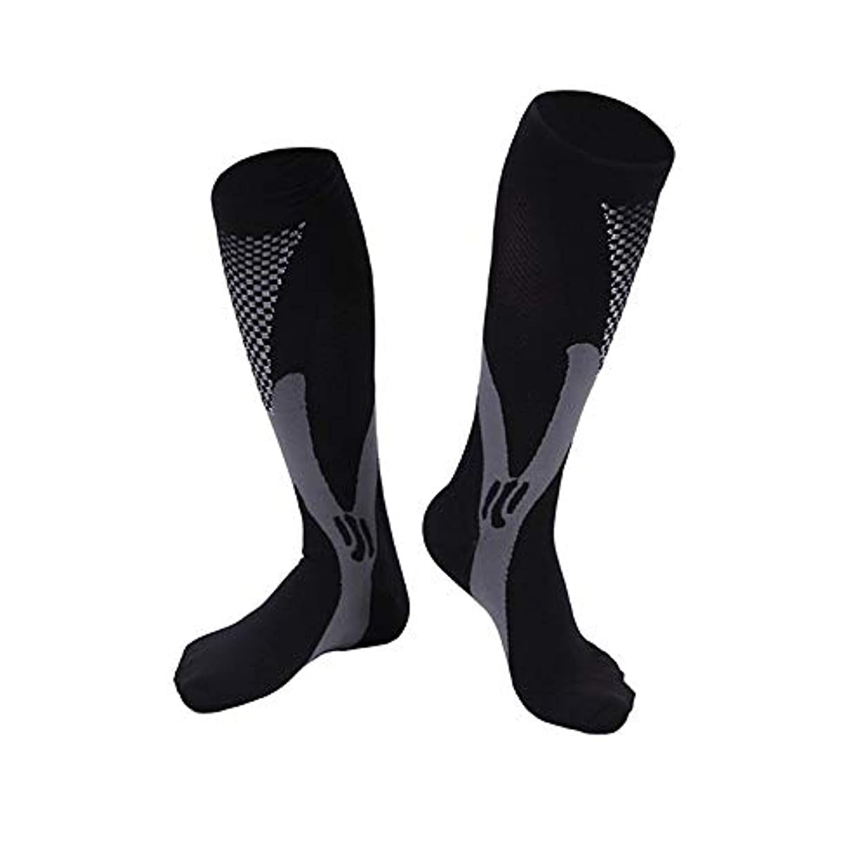 準備ができて素人定義快適な男性女性ファッションレッグサポートストレッチ圧縮ソックス下膝ソックスレッグサポートストレッチ通気性ソックス - ブラック2 XL